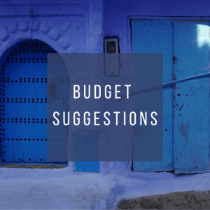 Button to click to learn budget suggestions for a trip to Morocco.