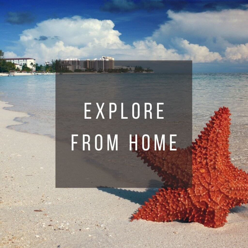 Button to click to learn how to virtually explore the Bahamas from home.