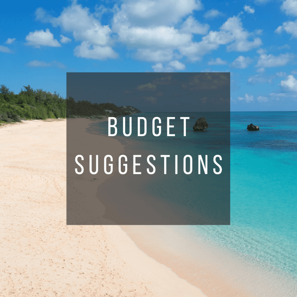 Button to click to learn budget suggestions for a trip to Bermuda.