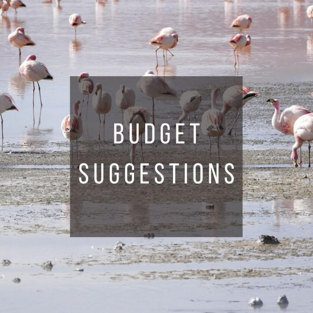 Button to click to learn budget suggestions for a trip to Bolivia.
