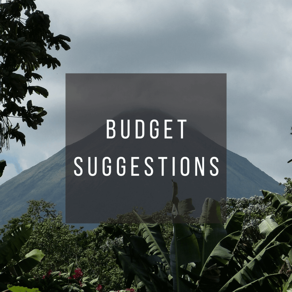 Button to click to learn budget suggestions for a trip to Costa Rica.