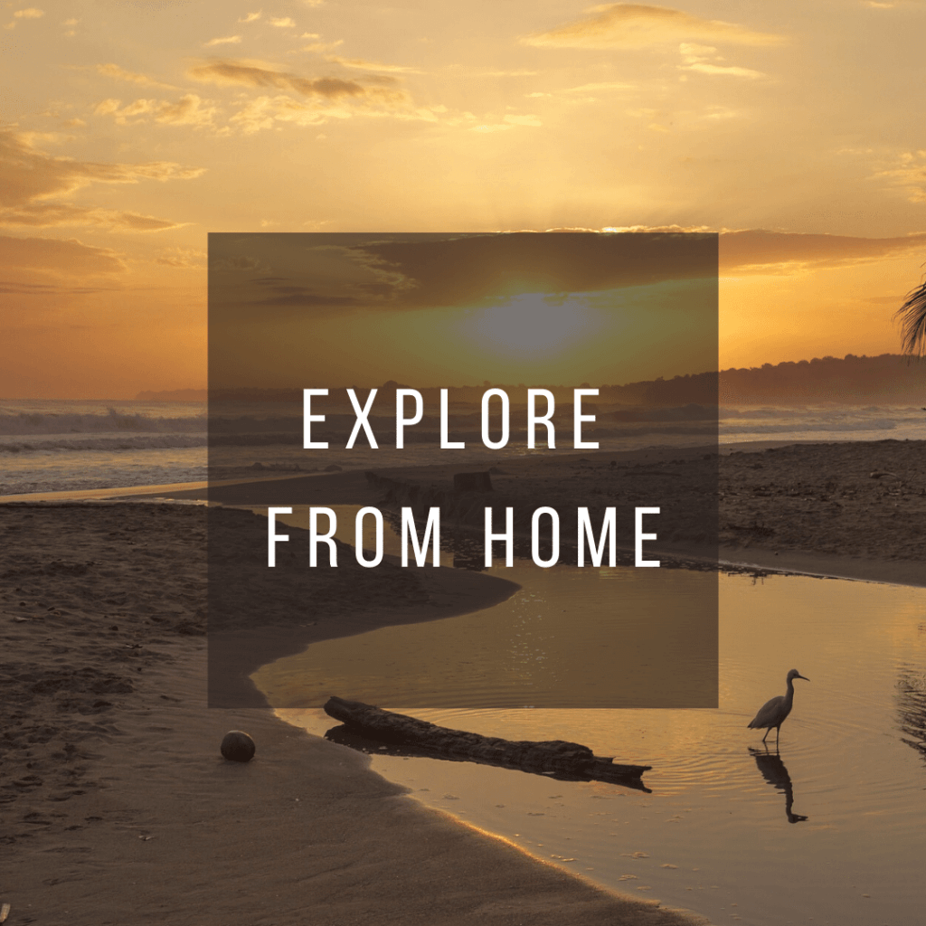 Button to click to learn how to virtually explore Costa Rica from home.