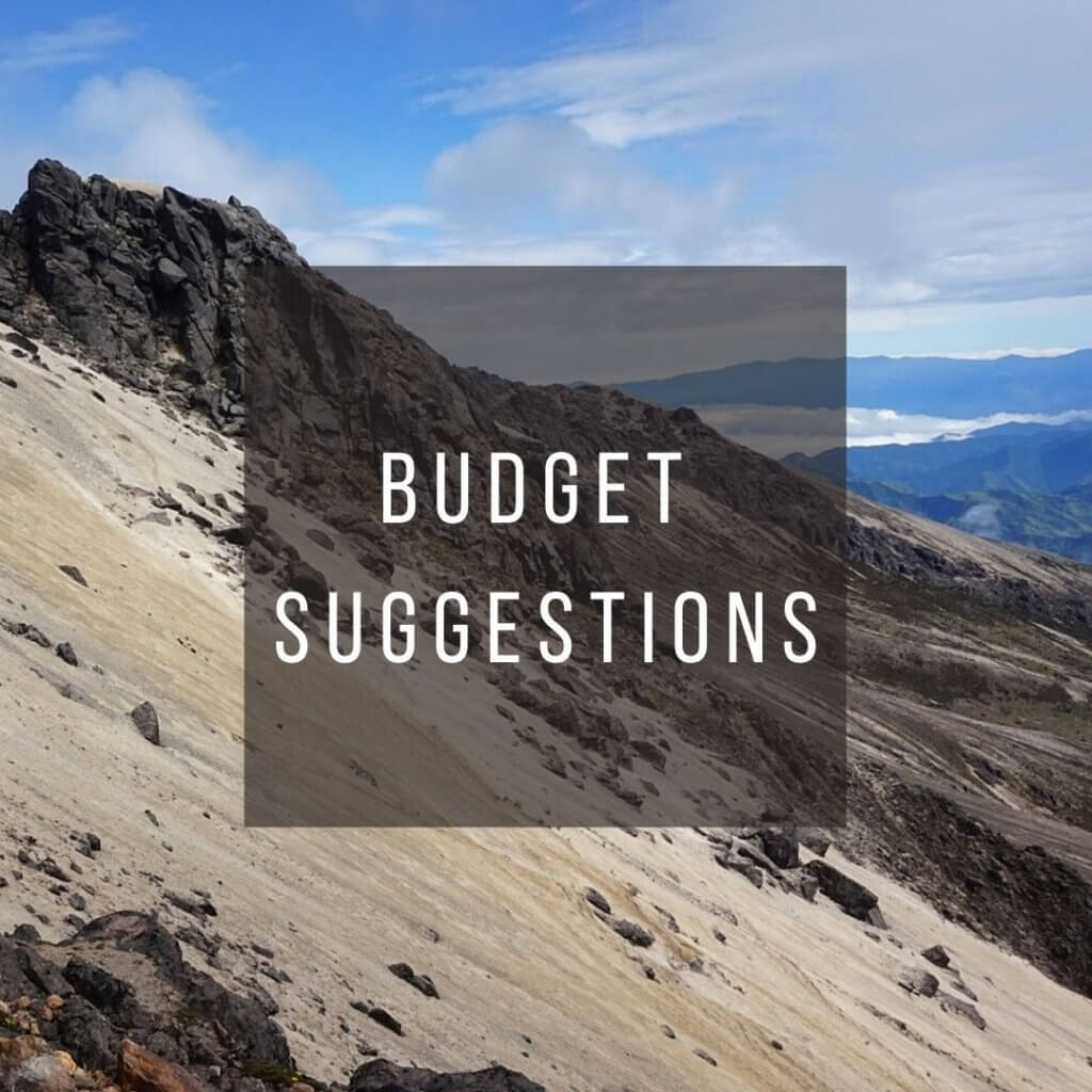 Button to click to learn budget suggestions for a trip to Ecuador.