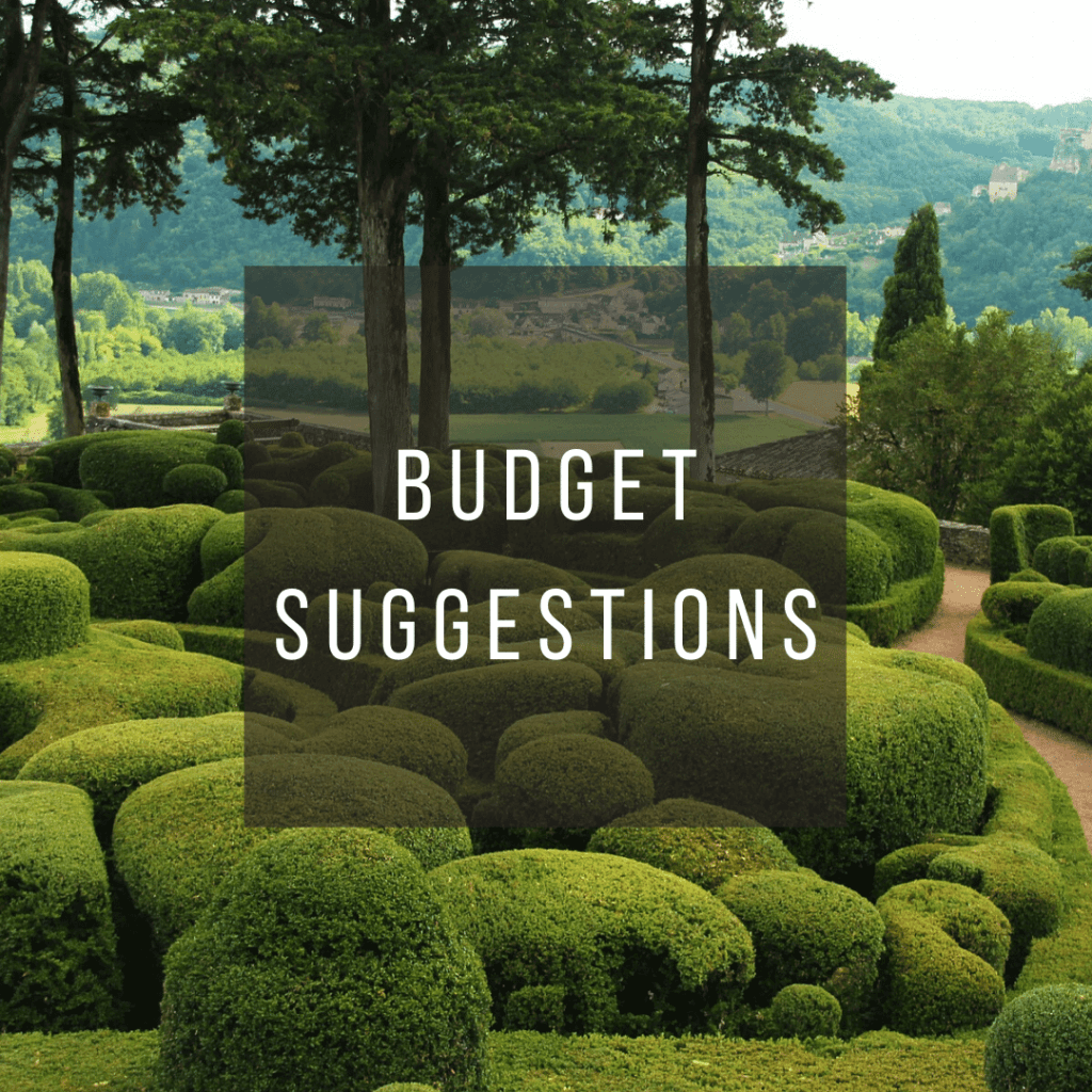 Button to click to learn budget suggestions for a trip to France.