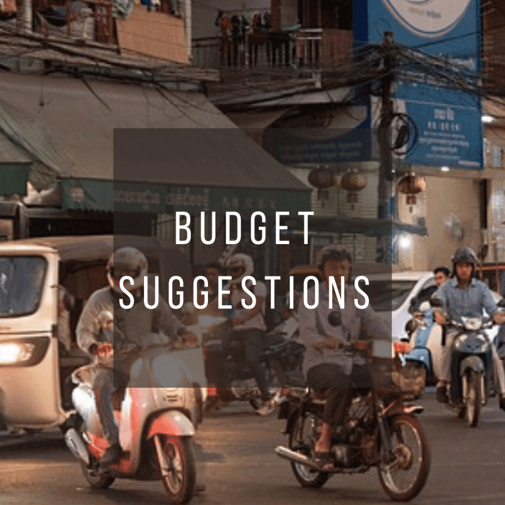 Button to click to learn budget suggestions for a trip to Cambodia.