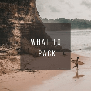 Button to click to learn what to pack for a trip to Indonesia.
