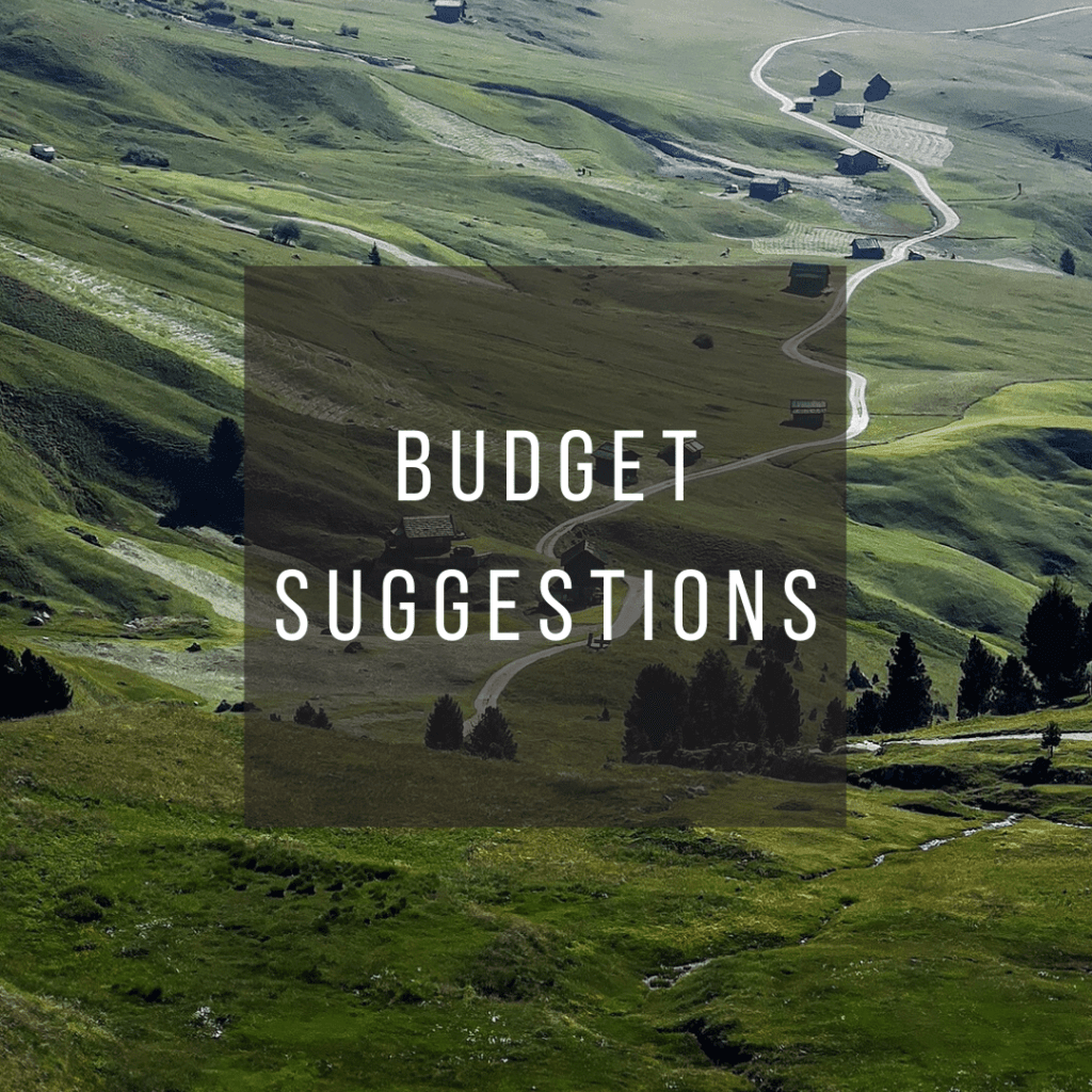 Button to click to learn budget suggestions for a trip to Italy