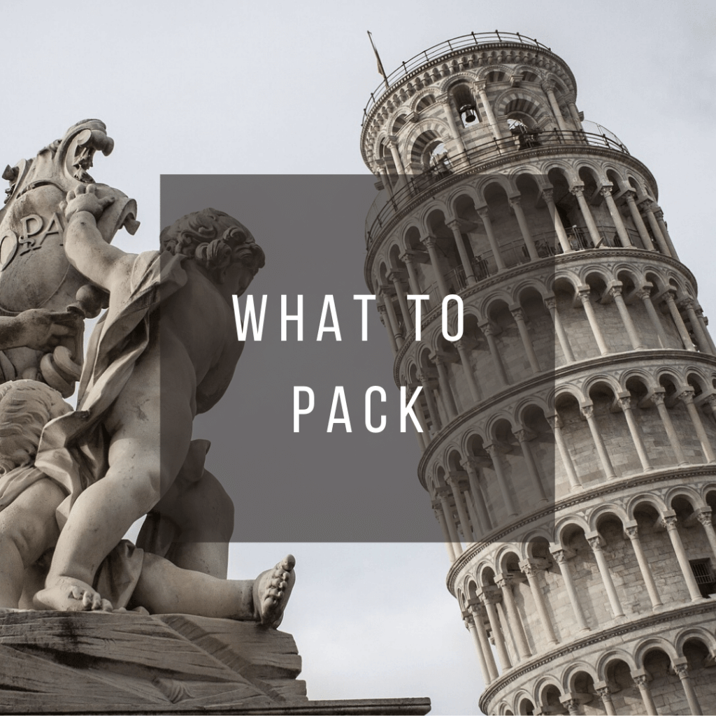 Button to click to learn what to pack for a trip to Italy