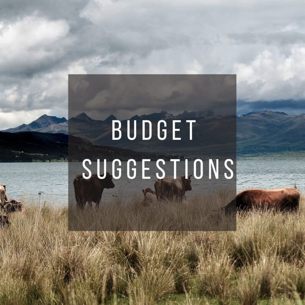 Button to click to learn budget suggestions for a trip to Peru