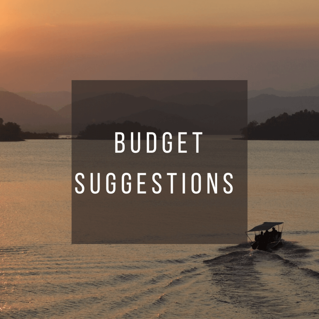 Button to click to learn budget suggestions for a trip to Thailand.