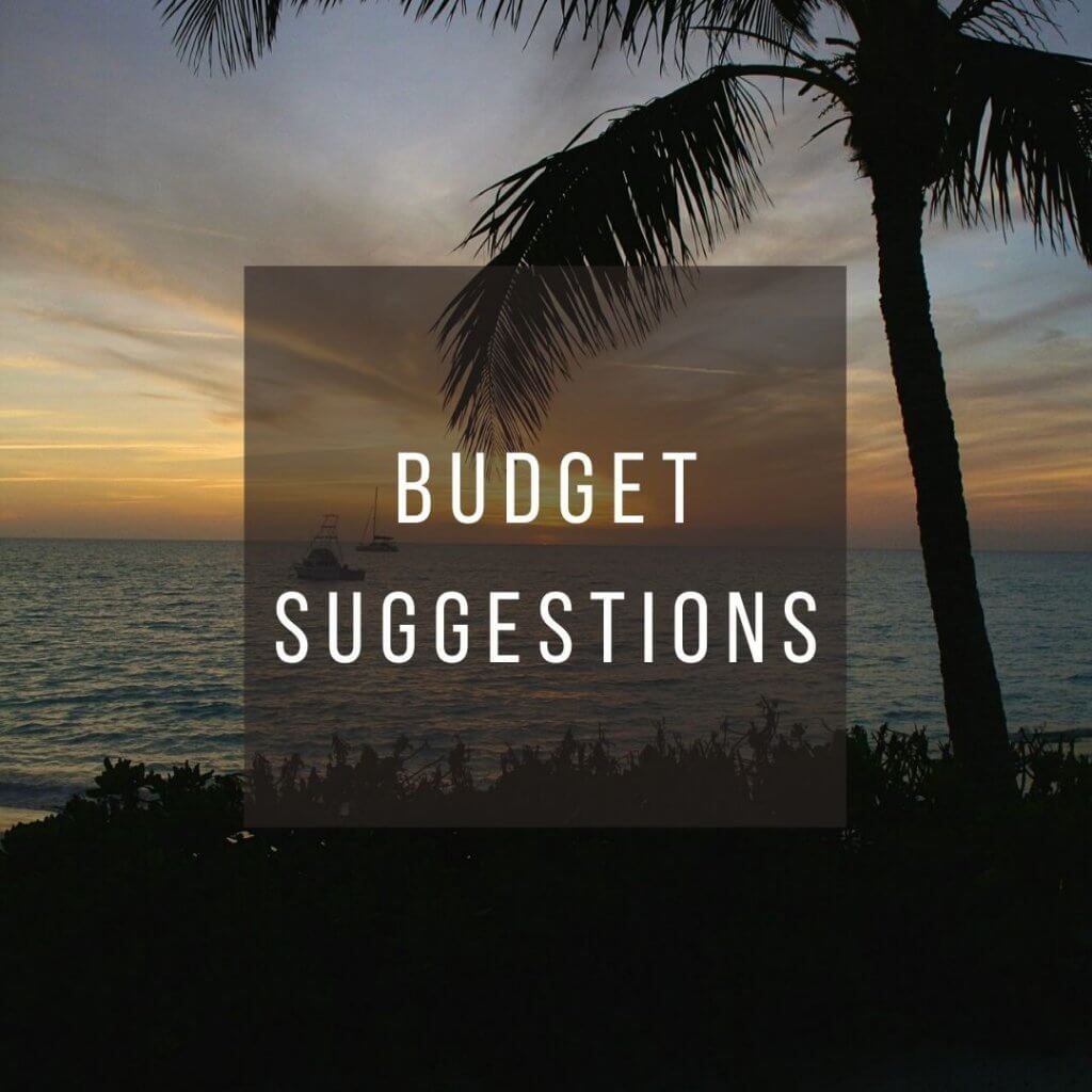 Button to click to learn budget suggestions for a trip to the Bahamas.
