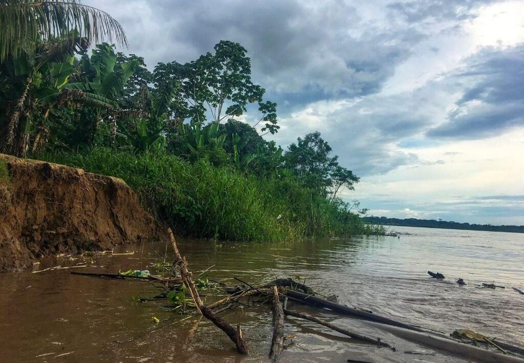 Peruvian Amazon River where adventure takes place. Dark brown dirt that forms a small beach which leads to the Peruvian Amazon River. Green trees and grass shown on sides of picture.