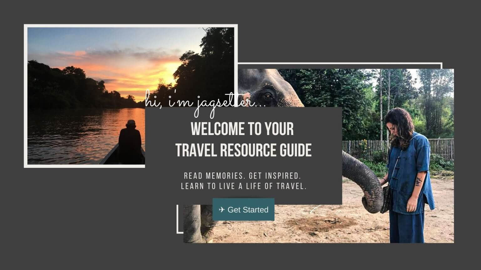 Jagsetter Travel Blog Hero Image. Picture of girl with elephant in Thailand and another picture of a man in a boat in the Peruvian Amazon.