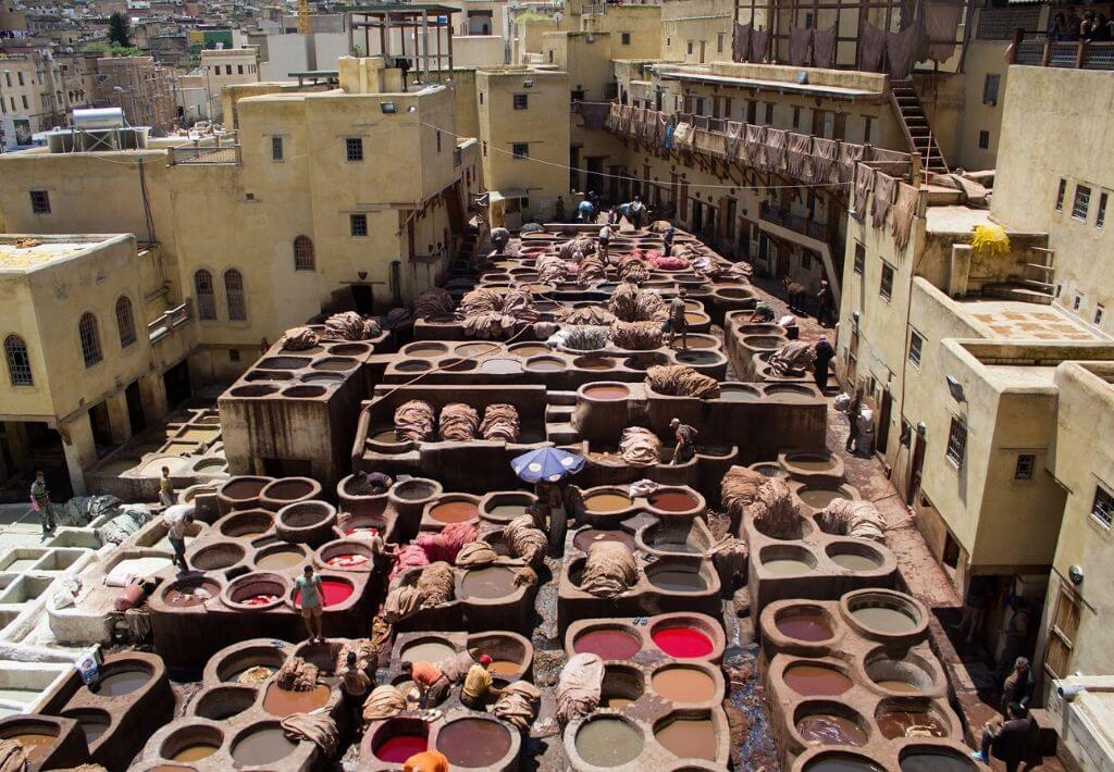 Tannery in Fez Morocco. Thumbnail for Morocco Scams blog post.