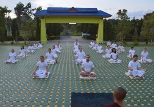 Twenty people wearing white and meditating while sitting down outside in Thailand. The people are at a silent meditation retreat in Thailand. The retreat is at Wat Suan Dok.
