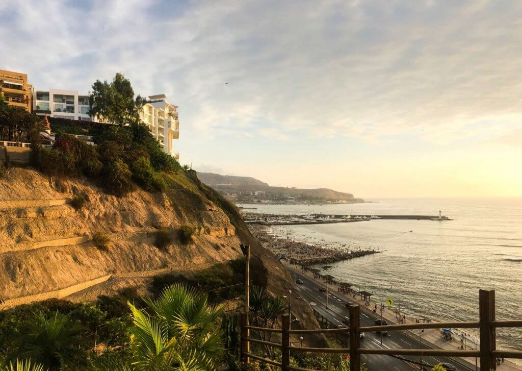 View of a home overlooking the ocean in Lima, Peru