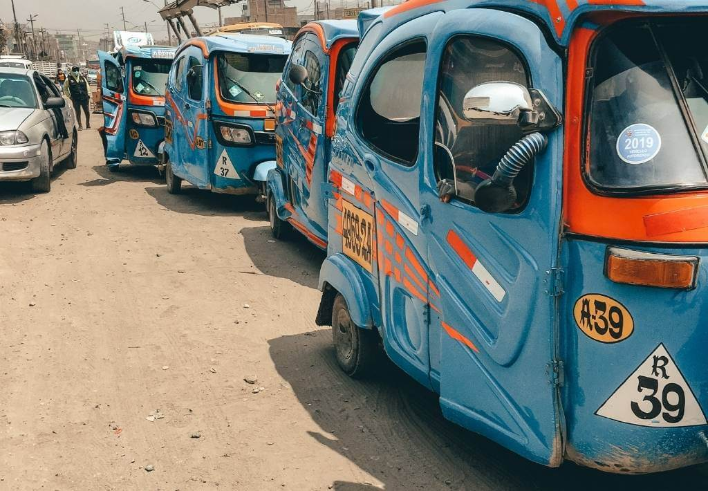 Picture of blue motor taxis