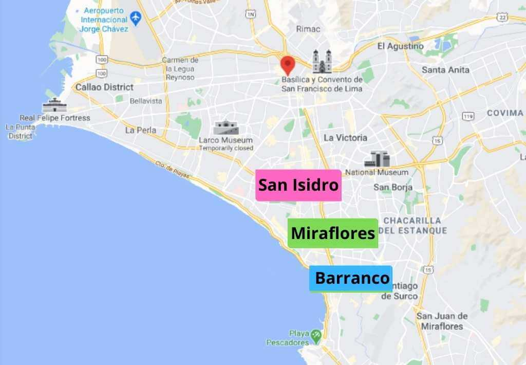 Map of where to stay in Lima, Peru. Highlighting the best neighborhoods to stay in - Miraflores, San Isidro, and Barranco