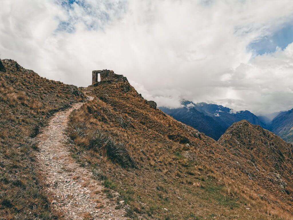 The Sun Gate on top of a hill in Cusco Peru