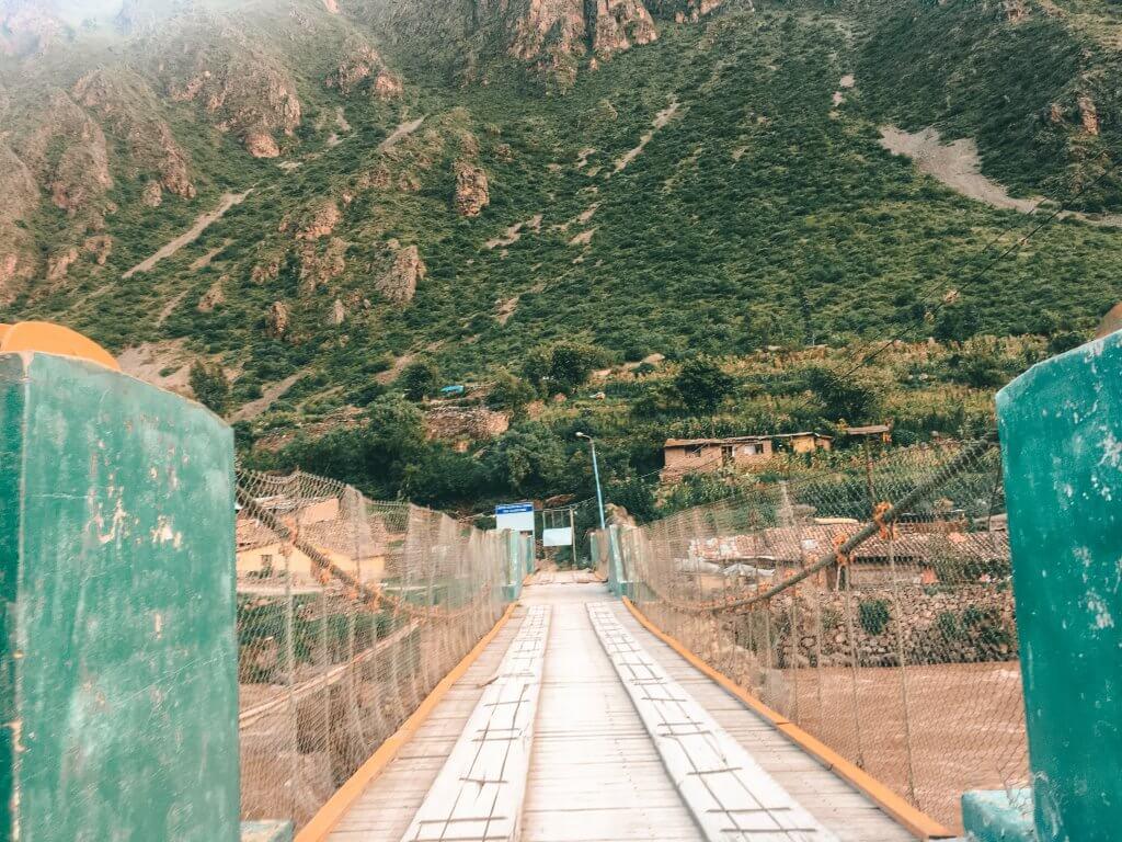 Inca Bridge. Bridge is orange and green.