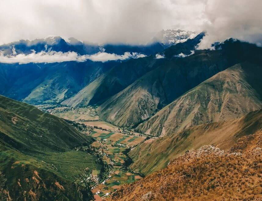 View from the Inti Punku Inca trail. Shows many mountains and the Sacred Valley in Peru.