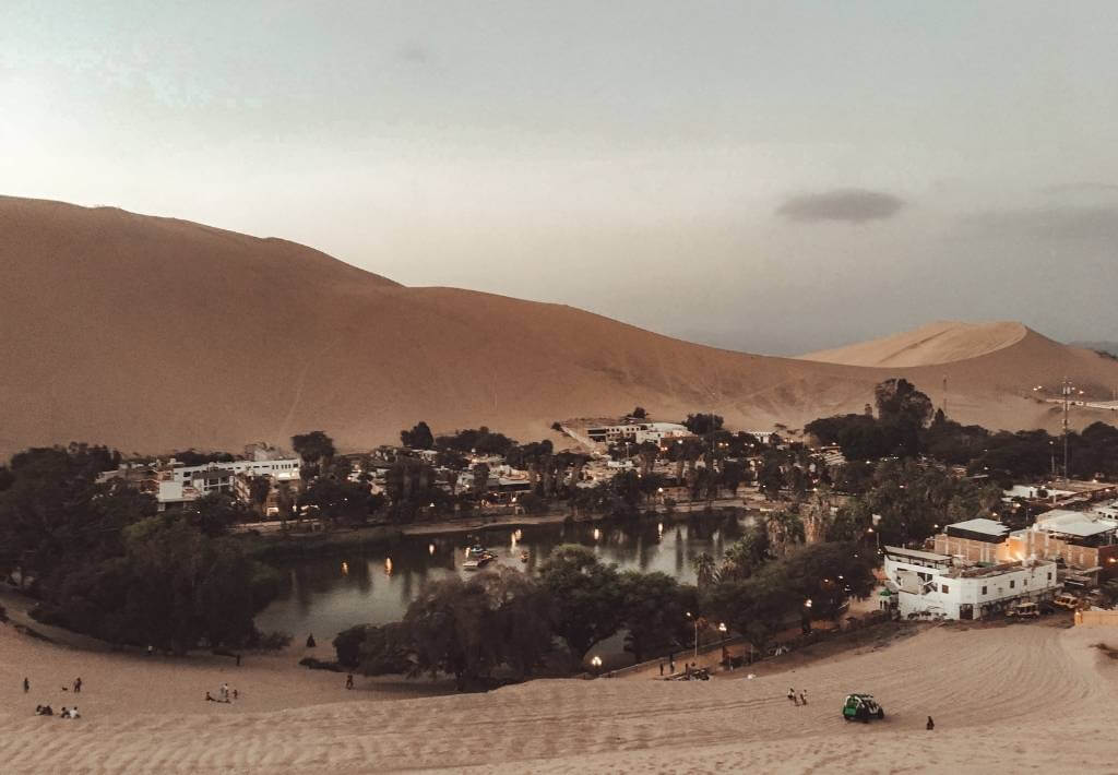Huacachina Desert Oasis picture of the Oasis from above