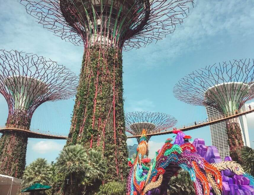Decor for a blog post about Singapore. Picture is of Gardens by the Bay and features man made plant like structures and a colorful dragon.