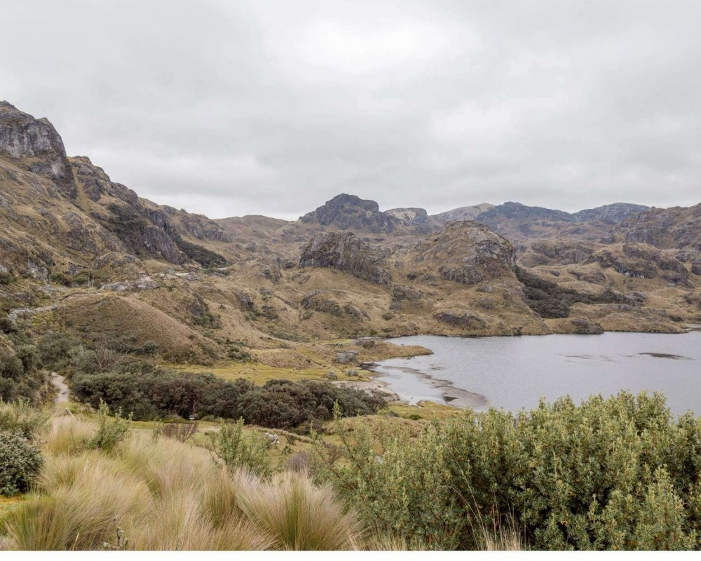 Cajas National Park Cuenca Ecuador - the picture shows hills, grass and a lake in the park