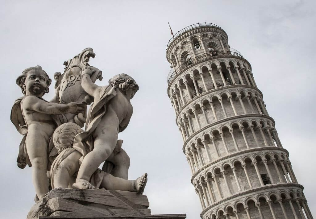 Europe Travel Guides thumbnail. Picture is of the leaning tower of Pisa in Italy.
