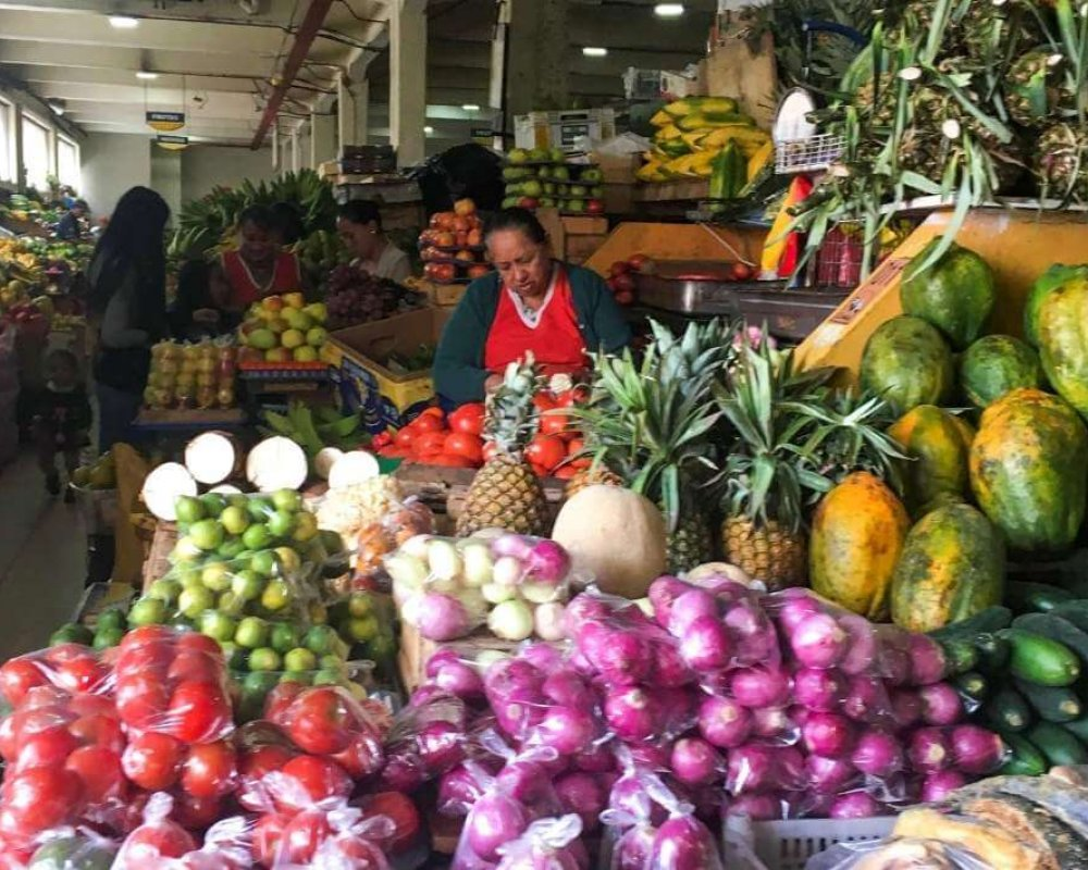 A woman standing at her stall, selling fruit at a market in Cuenca, Ecuador