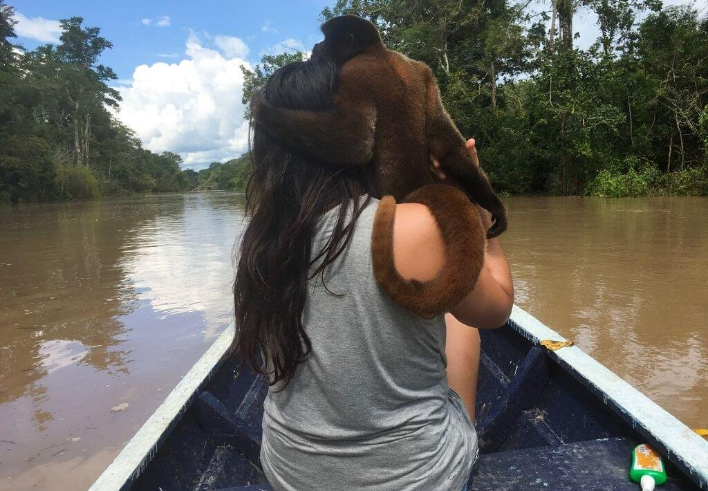 Monkey on top of girl, who is in a boat and riding down the Peruvian Amazon river.