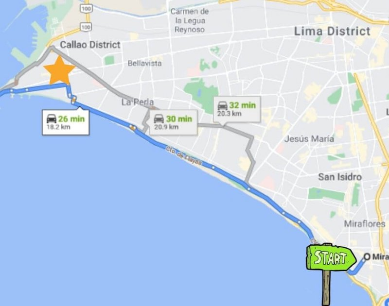 map of lima peru miraflores to callao